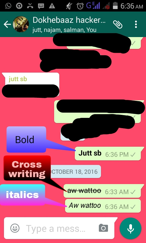 How To Write Bold Cross Writing And Italics Word On Whtsapp