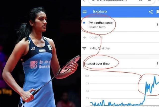 ओलंपिक मे जीतने वाले खिलाड़ी की हो रही जाति सर्च, टॉप पर है पी वी सिंधु