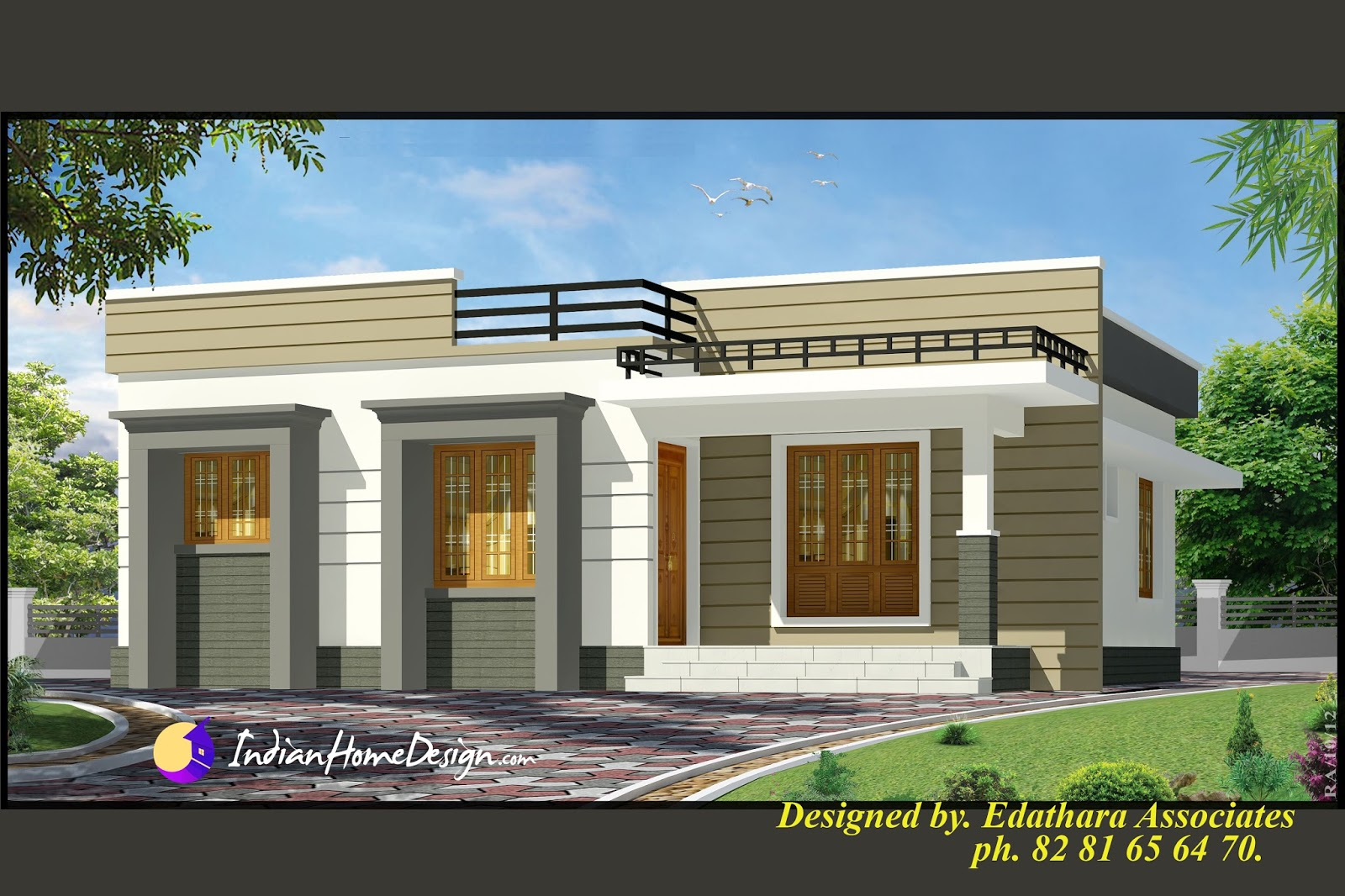 998 sqft modern single floor kerala home design indian for Single house front design