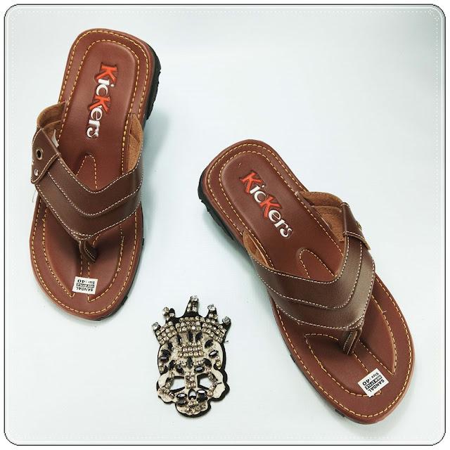 Sandal Imitasi Pria ELF- Sandal Imitasi Kulit Bahan Premium- Pabrik Sandal Garut