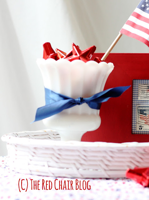 4th of July milk glass decorative vignette at The Red Chair Blog