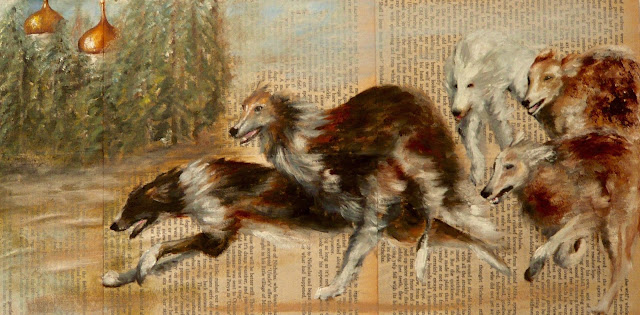 oil painting of borzoi from War & Peace