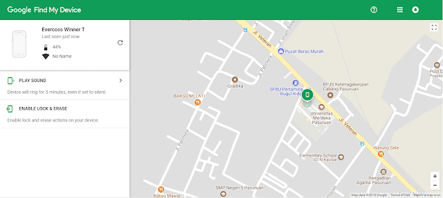 pelacakan smartphone android dengan Google Find My Device