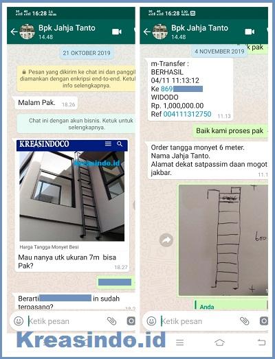 Tangga Monyet Besi pesanan Bpk Jahja Tanto di Daan Mogot Jakarta Barat