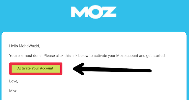 Moz Website Activation Link to Mail Account