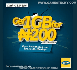 MTN 4GB for N1000, 1GB for N200, 250MB for N100