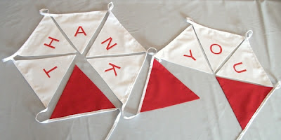 red and white thank you wedding bunting