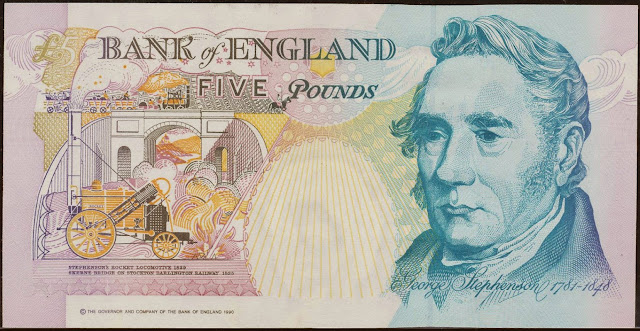 British Banknotes‎ 5 Pound Sterling note 1990 George Stephenson, Rocket locomotive