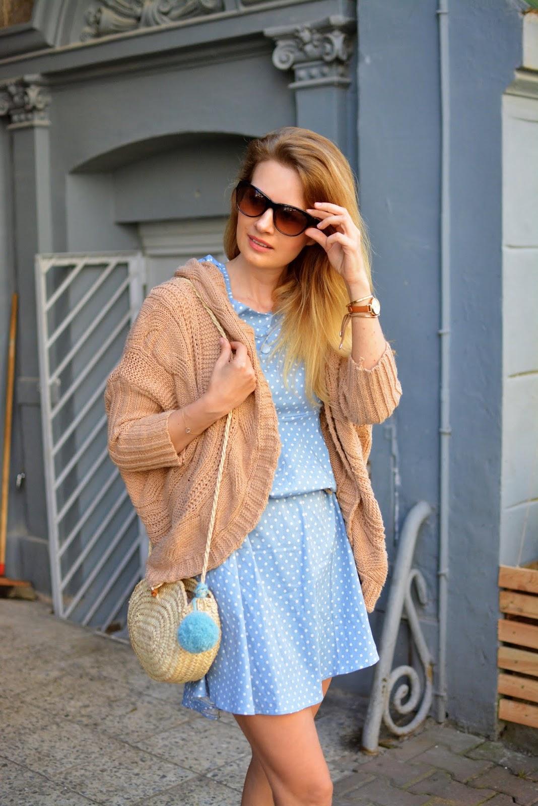 kamila libelula, kamila fleszar, sukienka w groszki, kardigan, poznan, stylizacja, bloger, jesien, blog, libelula