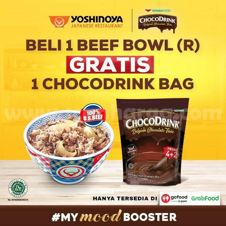 Promo Yoshinoya Beli 1 Beef Bowl Gratis 1 Choco Drink Bag*