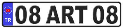 Artvin il isminin kısaltma harflerinden oluşan 08 ART 08 kodlu Artvin plaka örneği