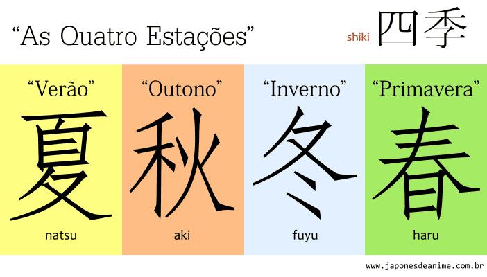 As quatro estações em Japonês, ou shiki 四季, escritas com kanji: Verão: natsu 夏. Outono: aki 秋.Inverno: fuyu 冬.E primarvera: haru 春