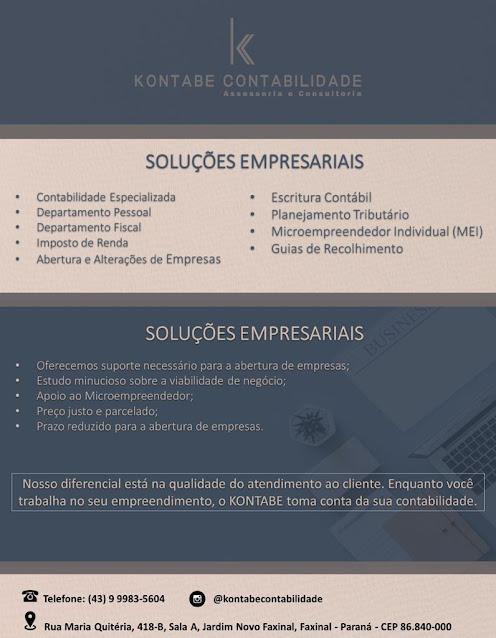 FAXINAL - Soluções empresariais e com a Kontabe Contabilidade