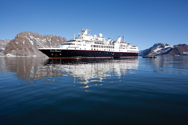 Silversea's Silver Explorer  luxury expedition ship sails the Northeast passage