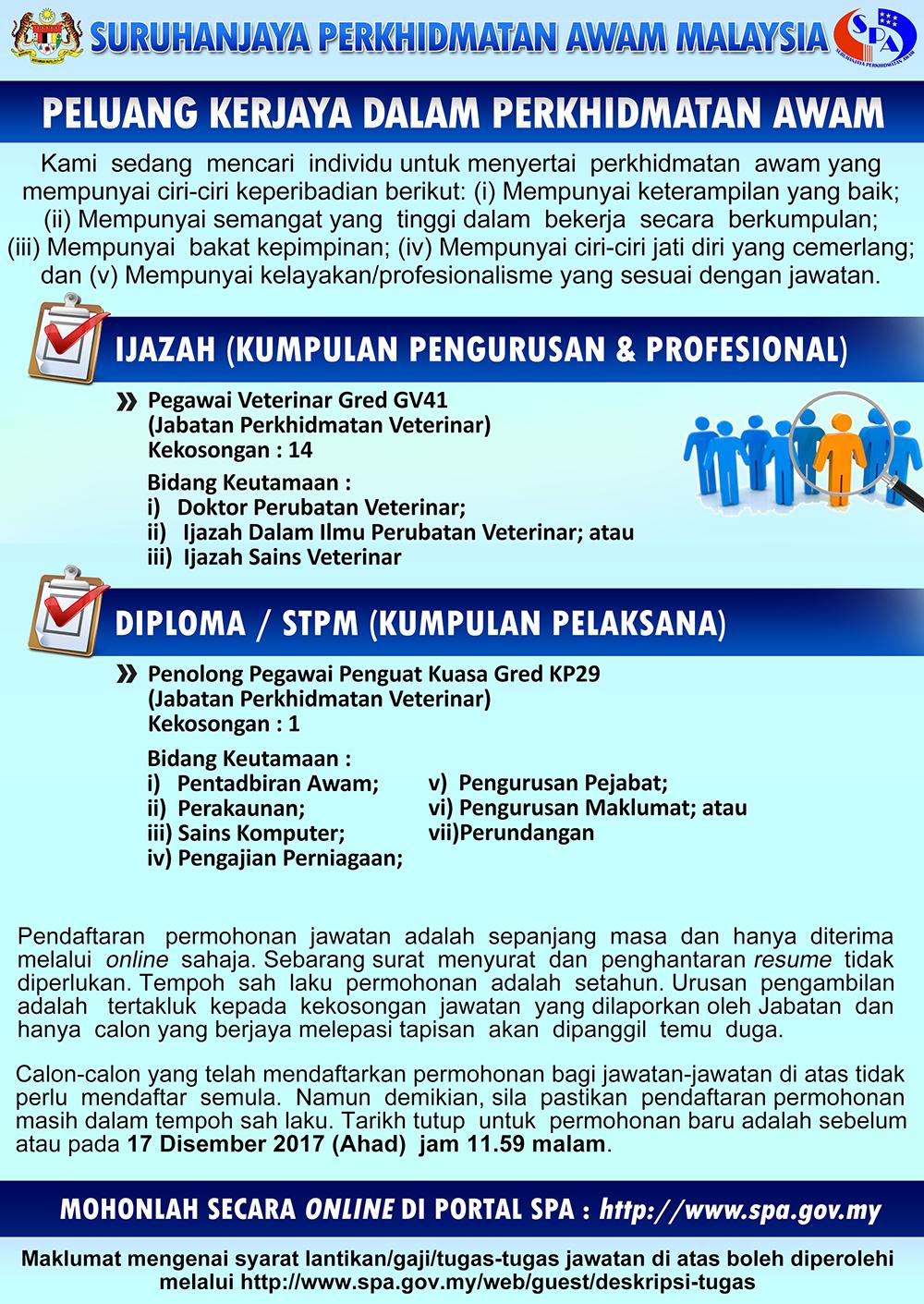 Jawatan Kosong Pegawai Veterinar Gv41 Penolong Pegawai Penguat Kuasa Gred Kp29