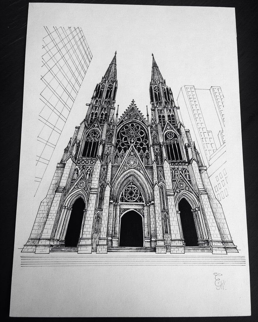 06-Gothic-Elizabeth-Detailed-Pencil-Architectural-Drawings-www-designstack-co