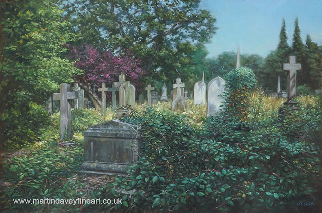 M P Davey Hampshire graveyard oil art