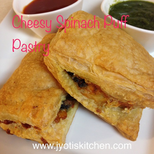 Cheesy Spinach Puff Pastry Recipe with step by step photo