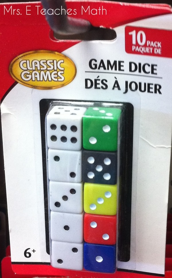 Dollar Store Finds for the Classroom - Dice   |   mrseteachesmath.blogspot.com