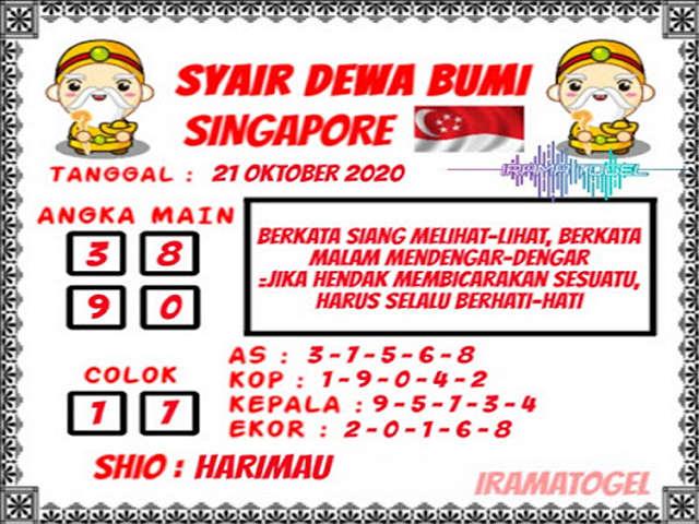 Kode syair Singapore Rabu 21 Oktober 2020 107