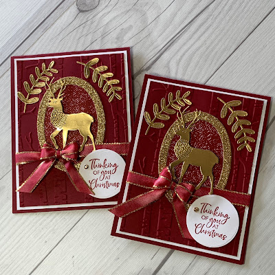 Cherry Cobbler and Gold Foil Deer Christmas Cards