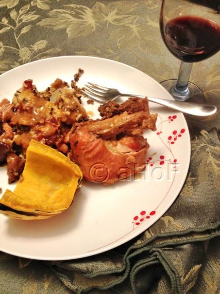 Dinner of Pheasant, dressing, gravy and Delicata squash