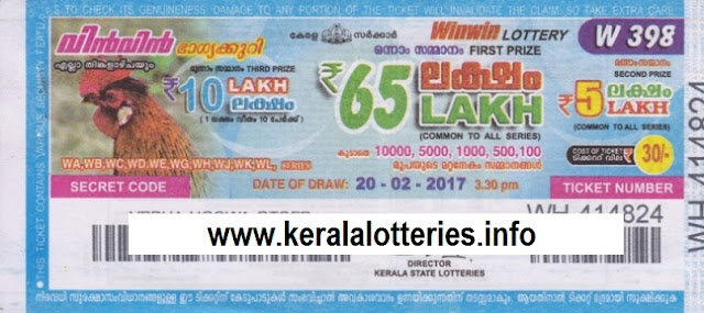 Kerala lottery result of Winwin-W-190