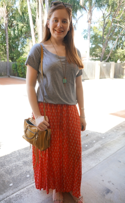 slouchy grey teem boho red printed maxi skirt, yellow micro regan bag, SAHM errand style | away from blue
