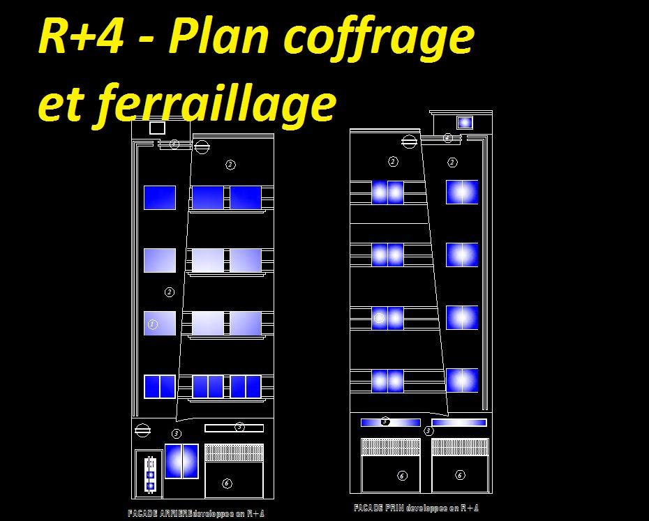 Plan batiment r+4 DWG , plan ferraillage et plan de coffrage