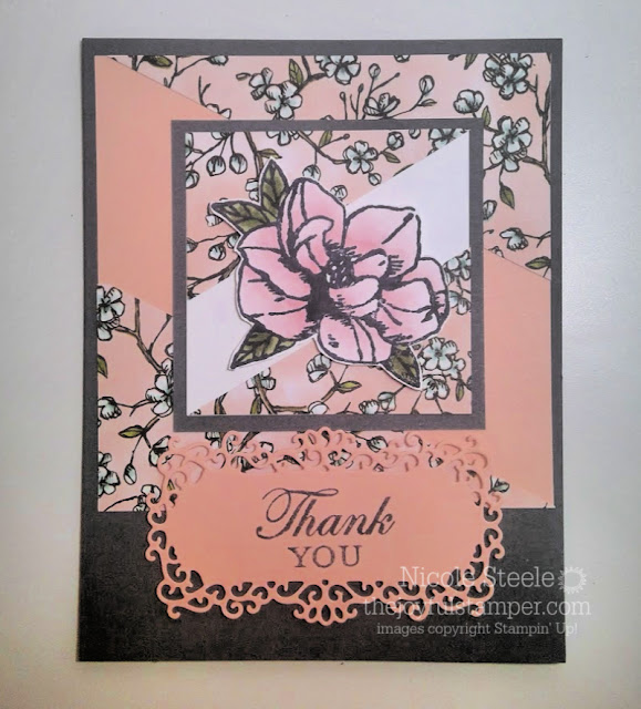 Thank you card using Stampin' Up!'s Magnolia Blooms set - Nicole Steele The Joyful Stamper