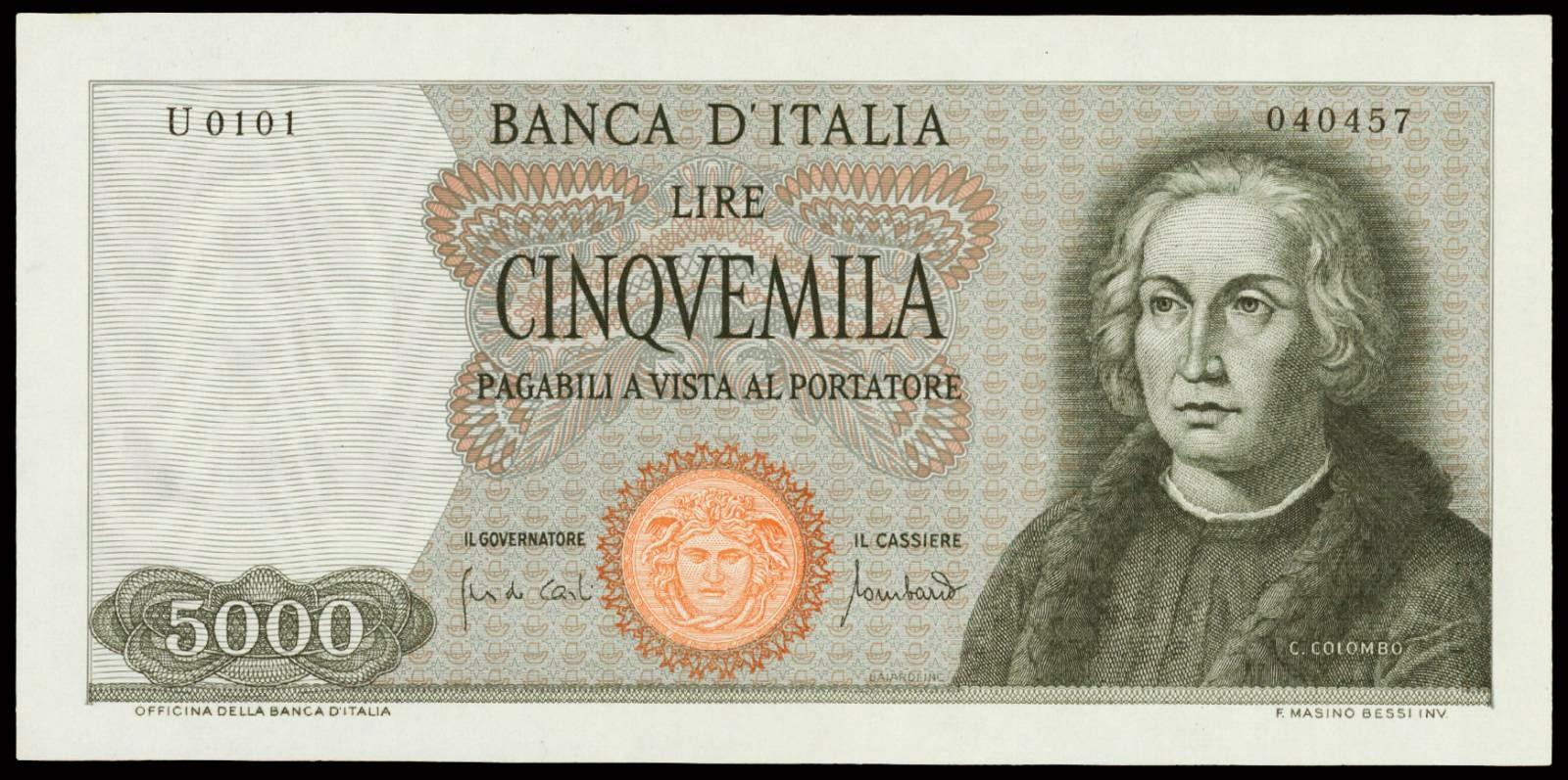 Italy 5000 Lira note 1970 Christopher Columbus