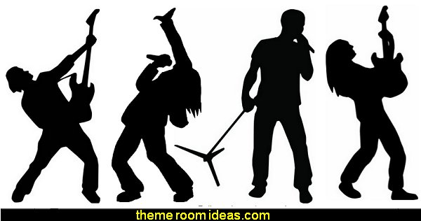 Rockstar Silhouette Wall Decal Stickers  Music bedroom decorating ideas - rock star bedrooms - music theme bedrooms - music theme decor - music themed decorations - bedding with musical notes