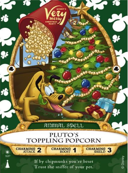 Pluto's Toppling Popcorn Mickey's Very Merry Christmas Party 2019 Spell Card