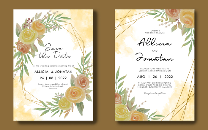 Wedding Invitation Card Template With Geometric Frame Watercolor Flower Bouquet