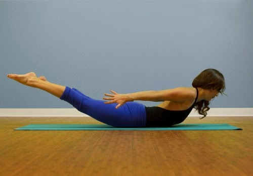 Salabhasana Yoga exercise to burn fat from hips