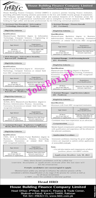 House Building Finance Company HBFC Jobs 2021 – www.hbfc.com.pk