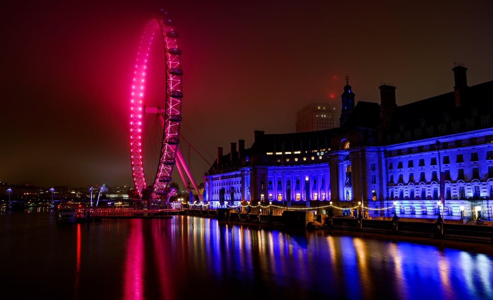 Amusement park, River Thames, Ferris Wheel, Blue Neon, Night, Cityscape, World