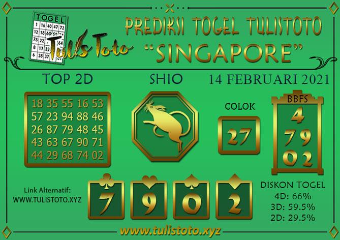 Prediksi Togel SINGAPORE TULISTOTO 14 FEBRUARI 2021