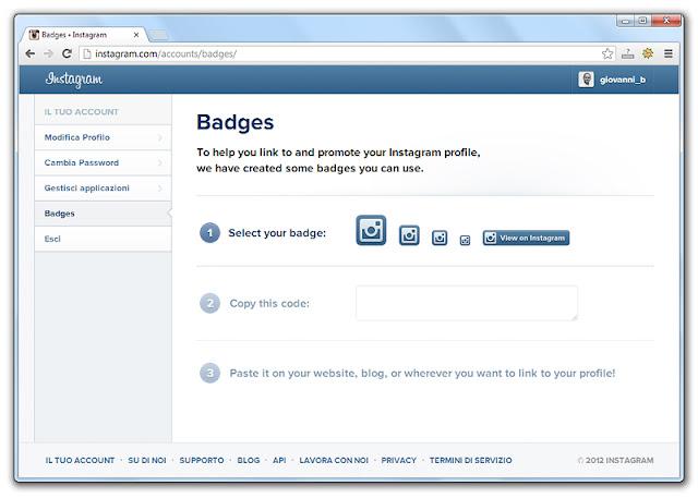 Pagina per creare il codice per il badge di Instagram