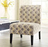 Comfortable patterned living room side chair