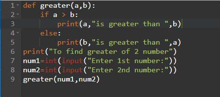 Python program to find the greater of 2 numbers