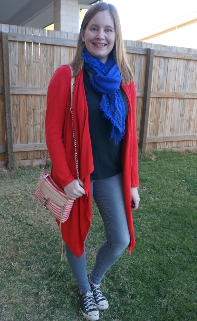 moncohrome black tee grey skinny jeans converse outfit with red cardigan striped bag cobalt scarf | away from blue