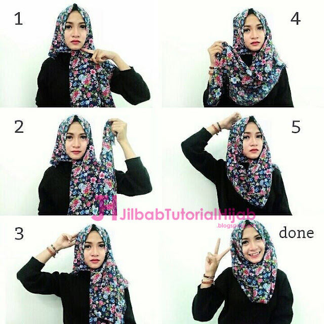 tutorial cara memakai hijab modern bermotif simple terbaru yang cocok untuk pergi kuliah ke kampus
