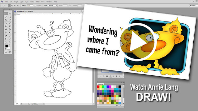 Watch Annie Lang draw a silly character https://www.youtube.com/watch?v=1zijoEZgO50