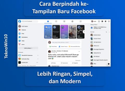 Cara Menggunakan Tampilan Baru (Modern) Facebook di Desktop PC / Laptop