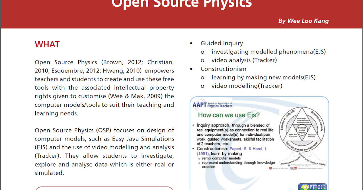 Open Source Physics @ Singapore: I in practice article