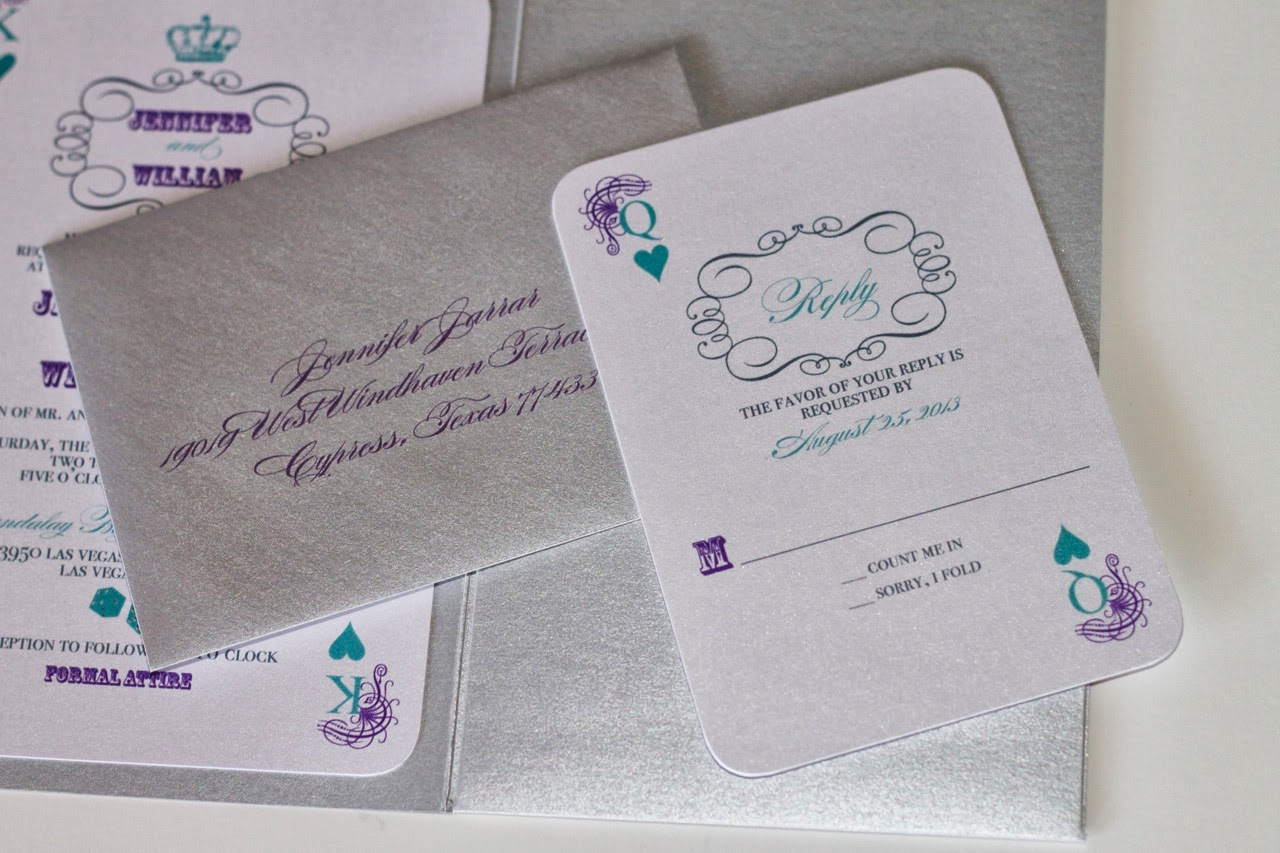 Silver And Purple Wedding Invitations: Embellished Paperie: Las Vegas Wedding Invitations In