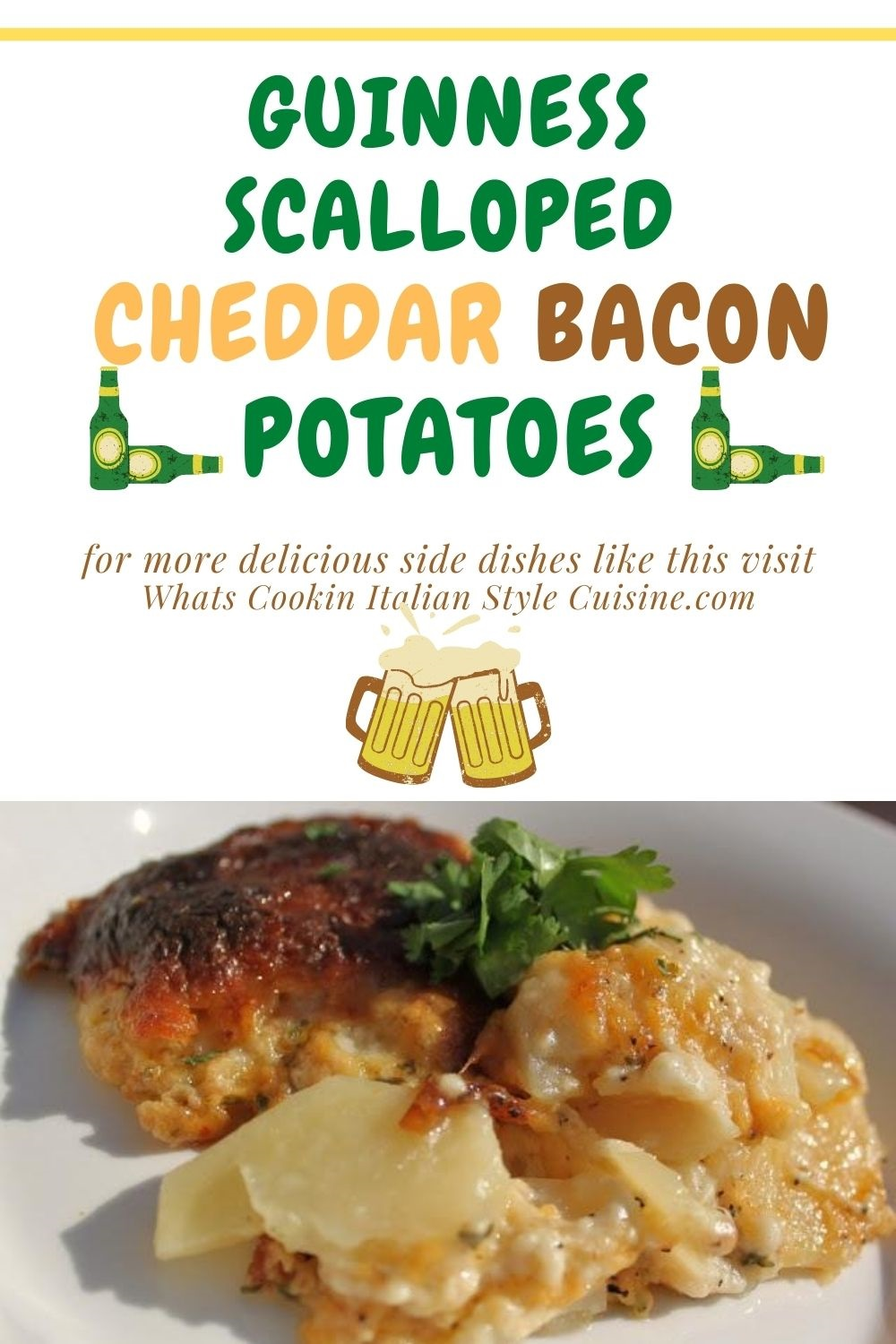this is a pin for later on how to make Guinness scallop cheddar bacon potatoes