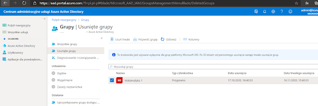 Portal Azure Ad - usunięte grupy