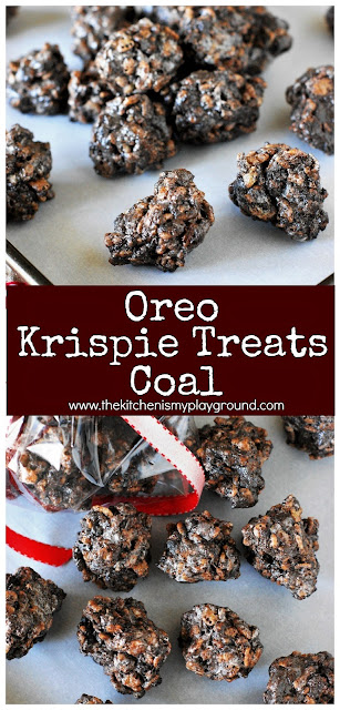 Oreo Krispie Treats Coal ~ These no-bake lumps of coal are such a fun (& tasty) way to tell someone they're on the naughty list!  www.thekitchenismyplayground.com